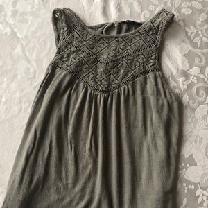 Olive Green Tank Top With Beautiful Design